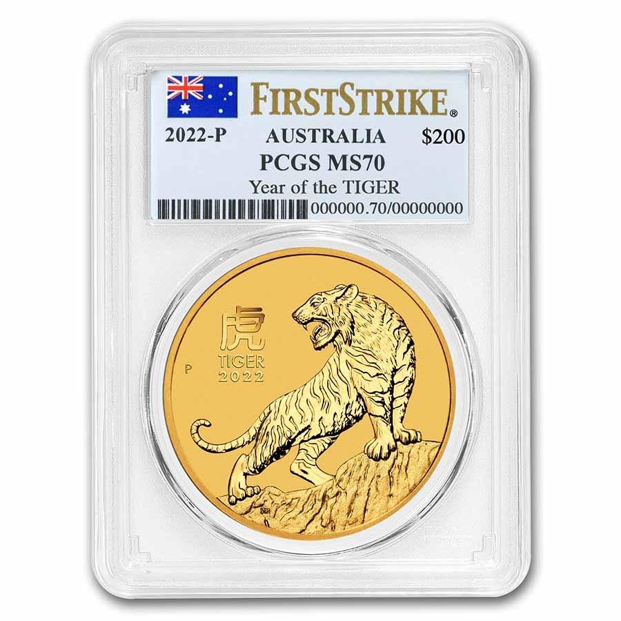 2022 Australia 2 oz Gold Lunar Tiger MS-70 PCGS (First Strike)