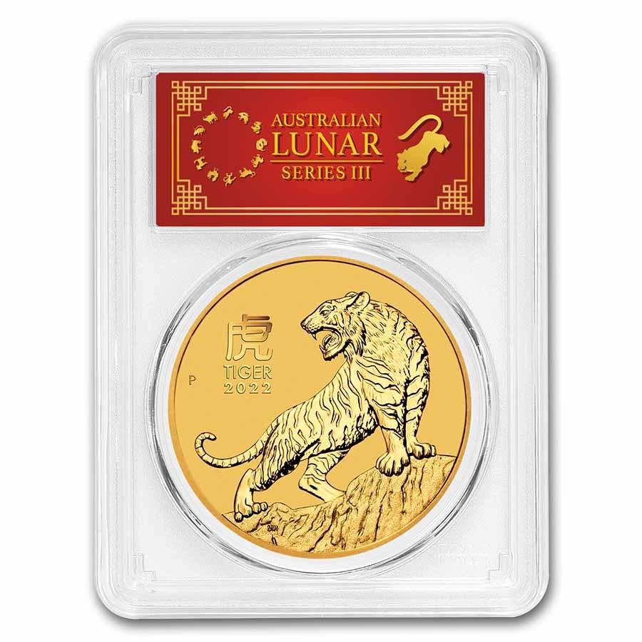 2022 Australia 2 oz Gold Lunar Tiger MS-70 PCGS (FS, Red Label)
