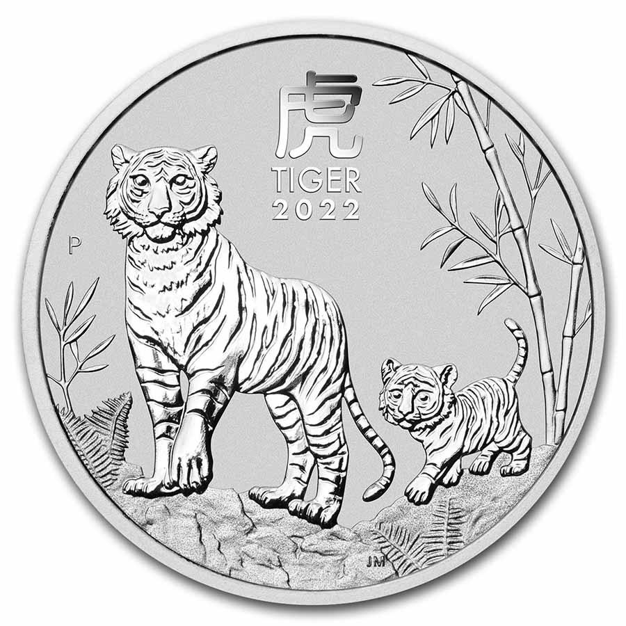 2022 Australia 2 oz Silver Lunar Tiger BU (Series III)