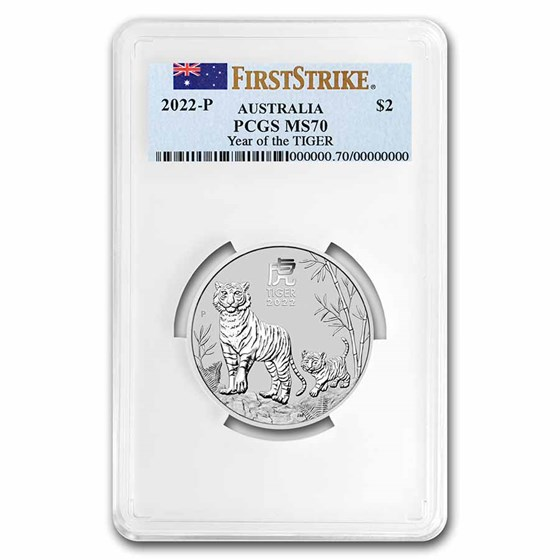 2022 Australia 2 oz Silver Lunar Tiger MS 70 (First Strike)