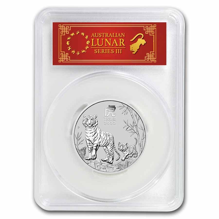 2022 Australia 2 oz Silver Lunar Tiger MS 70 (FS, Red Label)
