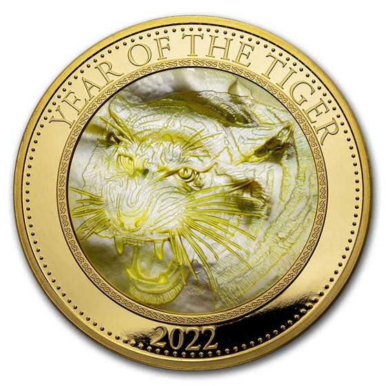 2022 Cook Islands 5 oz Gold Mother of Pearl Year of the Tiger