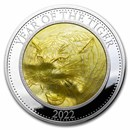 2022 Cook Islands 5 oz Silver Mother of Pearl Year of the Tiger