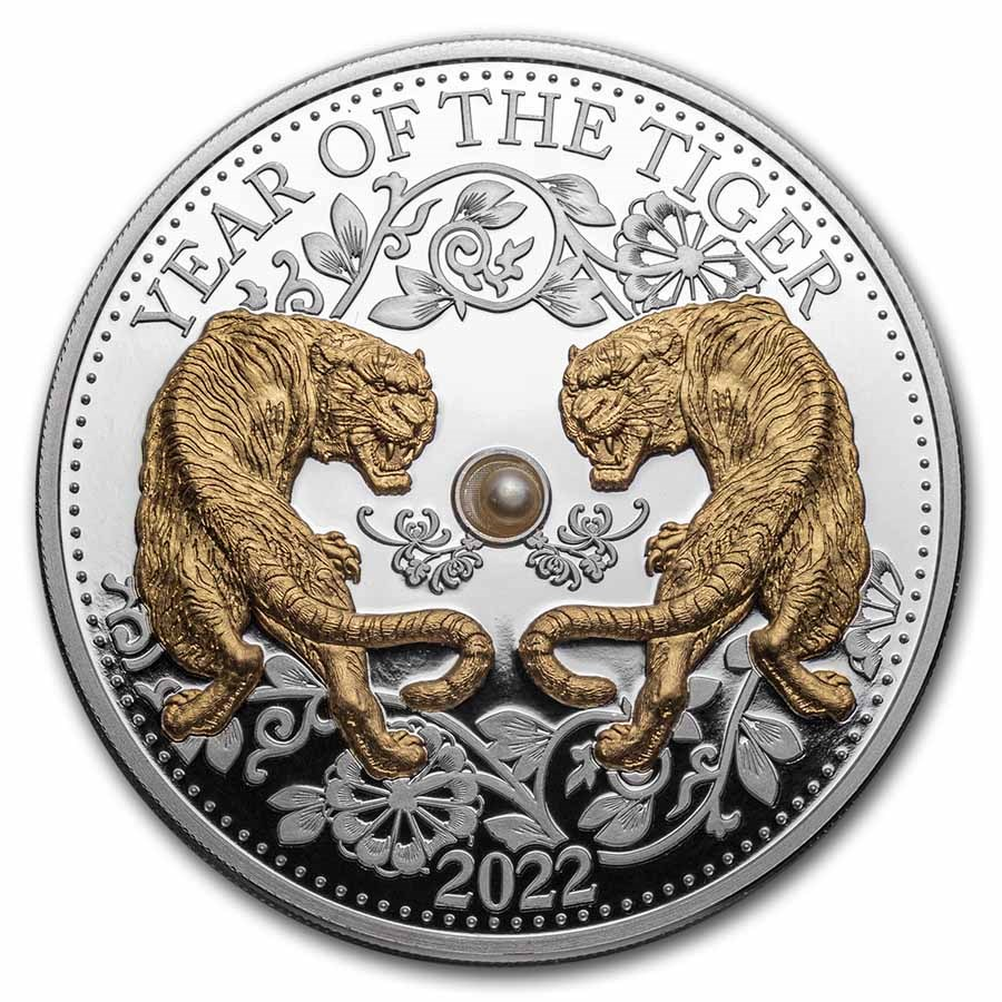 2022 Fiji 1 oz Silver Year of the Tiger Proof Gold Gilded w/Pearl