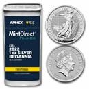 2022 GB 1 oz Ag Britannia (25-Coin MD Premier® Tube + PCGS FS®)