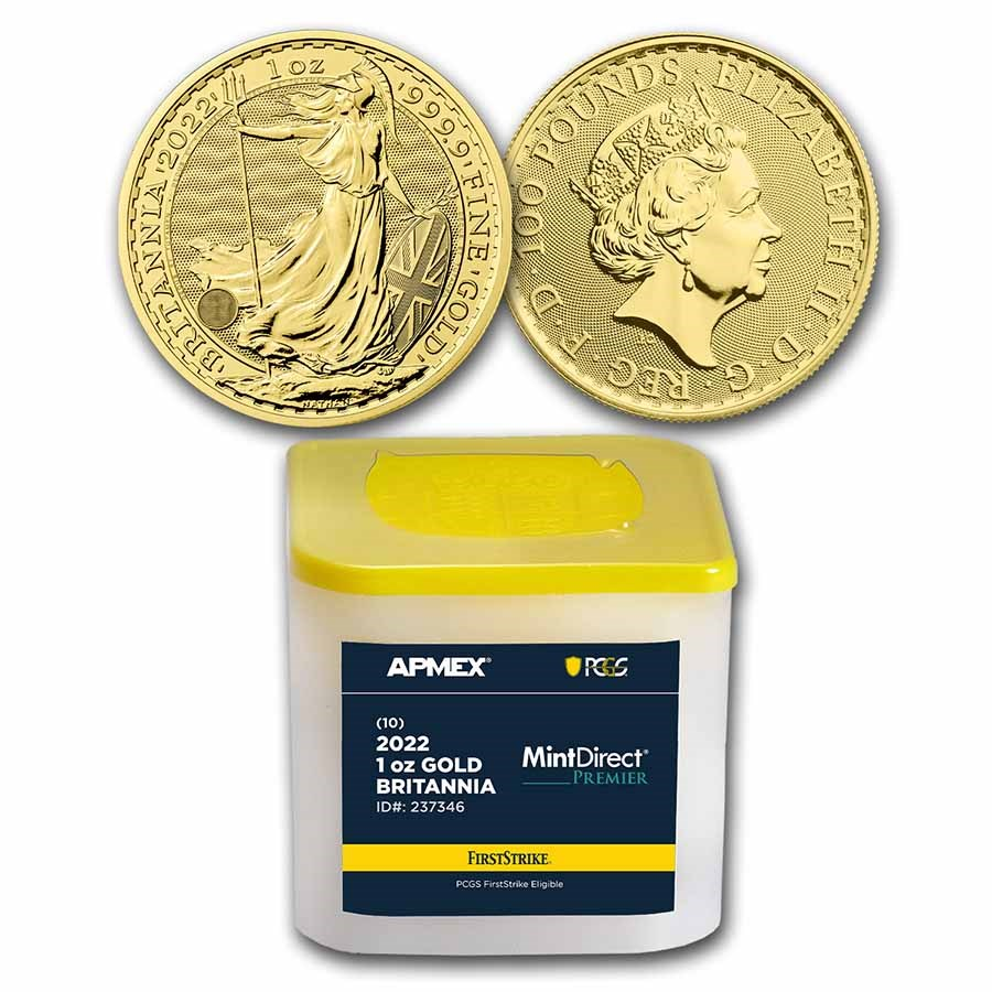 2022 GB 1 oz Gold Britannia (10-Coin MD® Premier Tube + PCGS FS®)