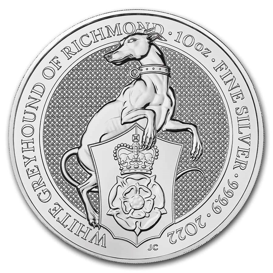 2022 GB 10 oz Silver Queen's Beasts The White Greyhound