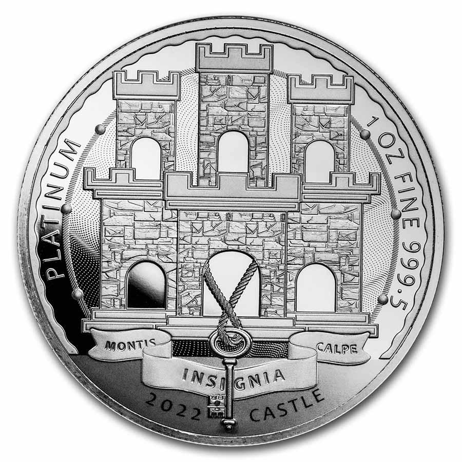 2022 Gibraltar 1 oz Platinum Reverse Proof - Moorish Castle