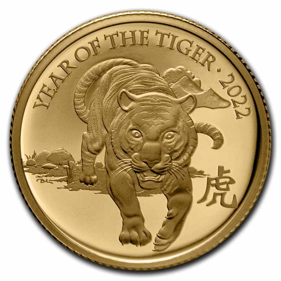 2022 Great Britain 1/4 oz Gold Year of the Tiger Prf (Box & COA)