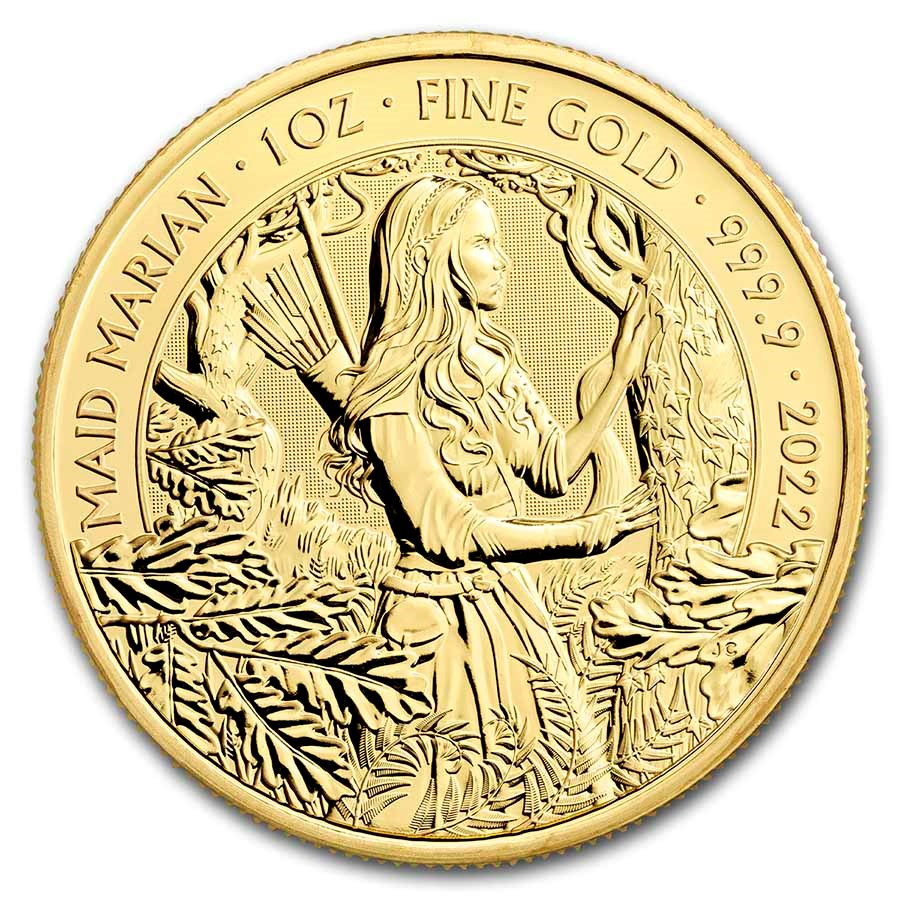 2022 Great Britain 1 oz Gold Myths and Legends: Maid Marian BU