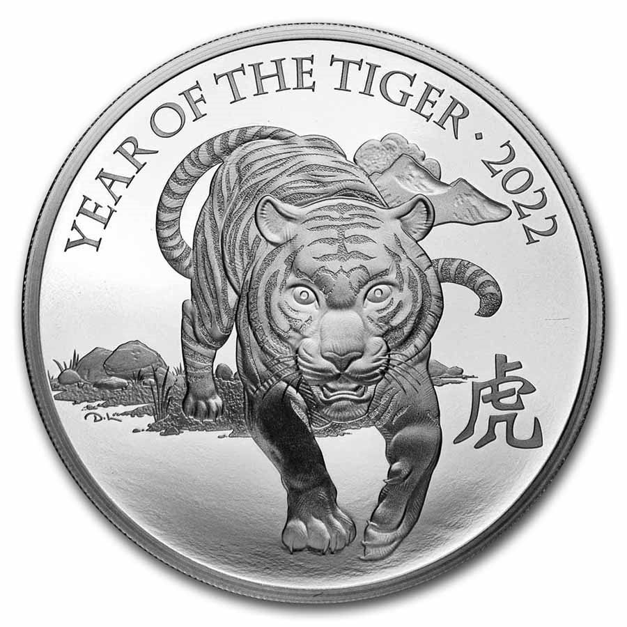 2022 Great Britain 1 oz Silver Year of the Tiger Prf (Box & COA)