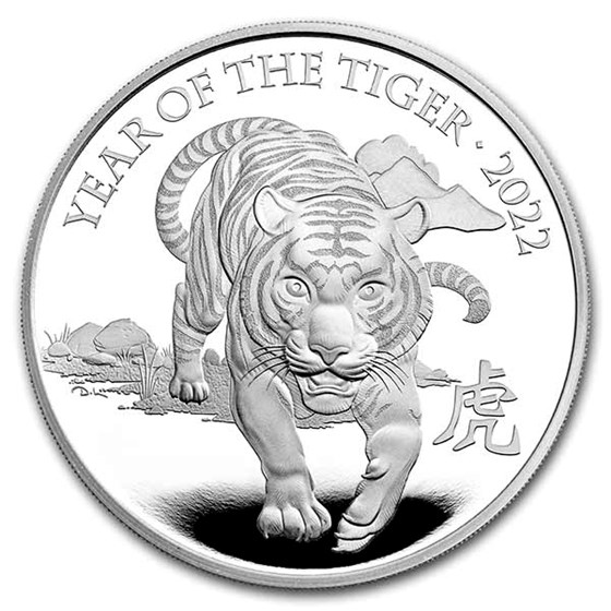 2022 Great Britain 5 oz Silver Year of the Tiger Prf (Box & COA)
