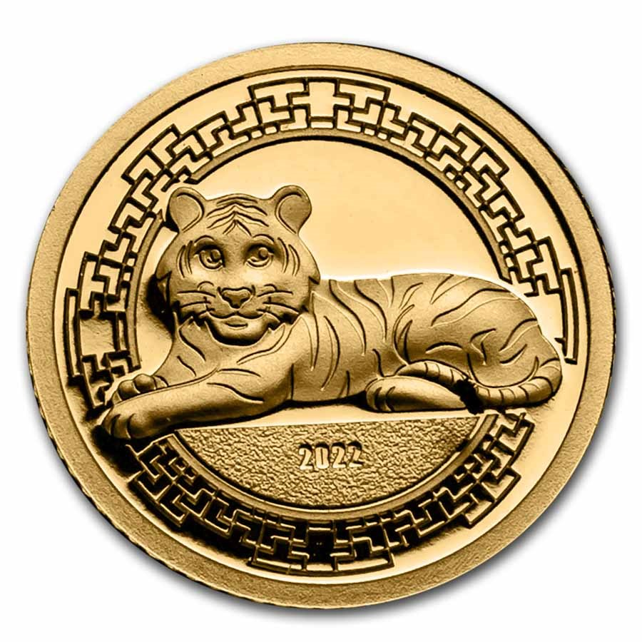 2022 Mongolia 1/2 gram Proof Gold Lunar Year of the Tiger