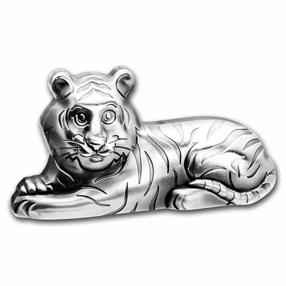 2022 Mongolia 1 oz Silver Antique Lunar Charming Tiger