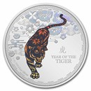 2022 Niue 1 oz Silver $2 Colorized Lunar Year of the Tiger Proof