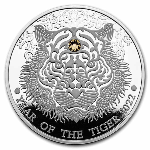 2022 Republic of Ghana 1/2 oz Silver Year of the Tiger Proof