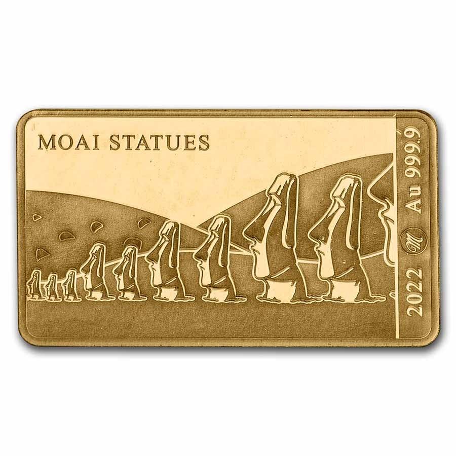 2022 Solomon Islands 1/100 oz Gold Moai Statues