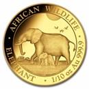 2022 Somalia 1/10 oz Gold African Elephant BU