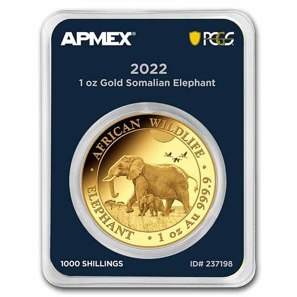 2022 Somalia 1 oz Gold Elephant (MD® Premier + PCGS FS)