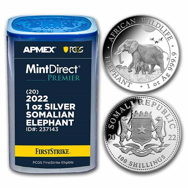 2022 Somalia 1 oz Silver Elephant (MD® Premier + PCGS FS Tube)
