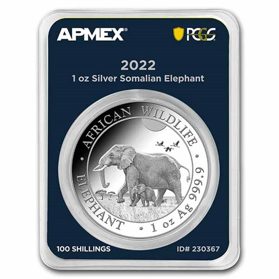 2022 Somalia 1 oz Silver Elephant (MD® Premier + PCGS FS)