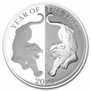 2022 Tokelau 1 oz Silver Proof Year of the Tiger Mirror Tiger