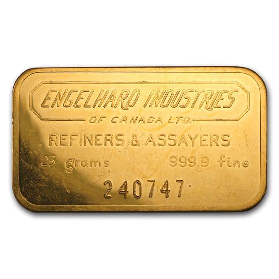 25 gram Gold Bar - Engelhard Industries of Canada