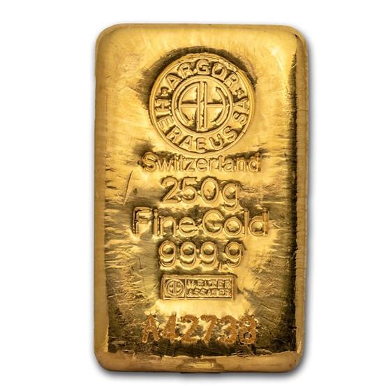 250 gram Gold Bar - Argor-Heraeus (Cast)