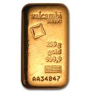 250 gram Gold Bar - Valcambi (Poured w/Assay)