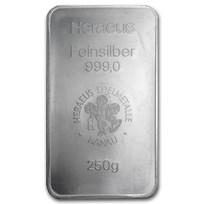 250 gram Silver Bar - Argor-Heraeus (Pressed)