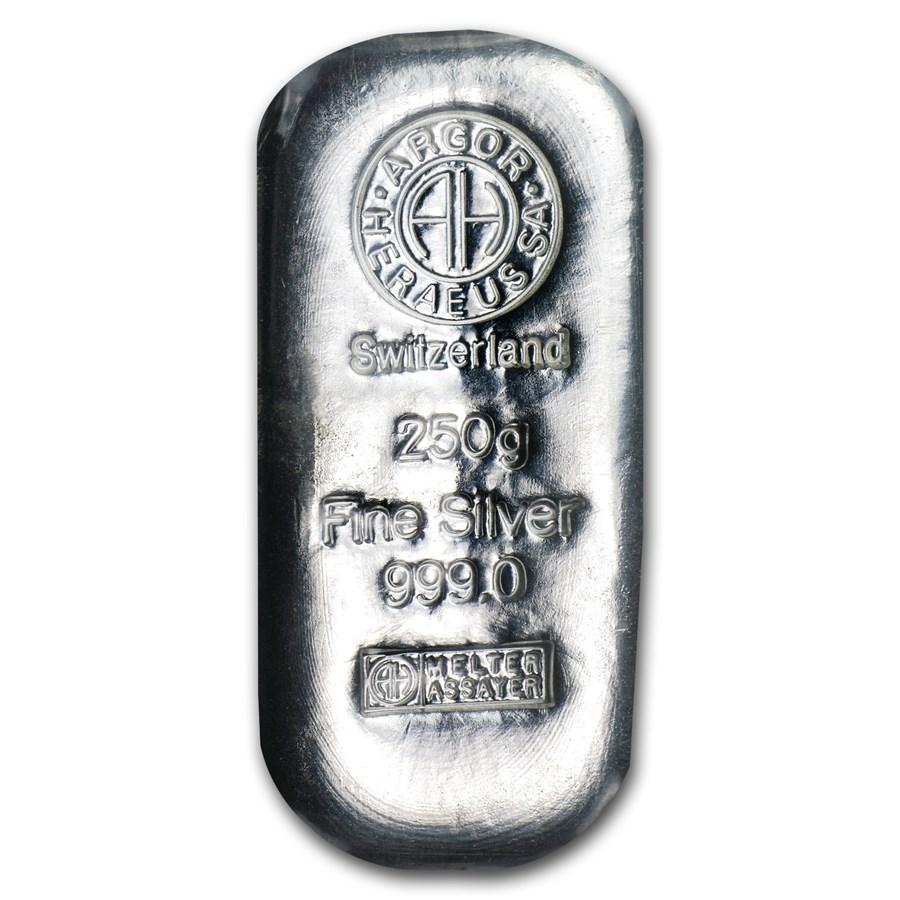 250 gram Silver Bar - Argor-Heraeus (Switzerland)