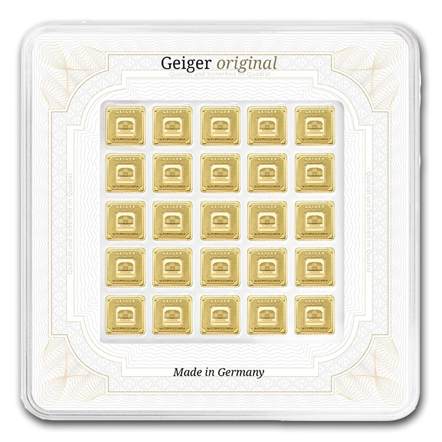25x 1 gram Gold Bar - Geiger Edelmetalle (Encapsulated w/Assay)