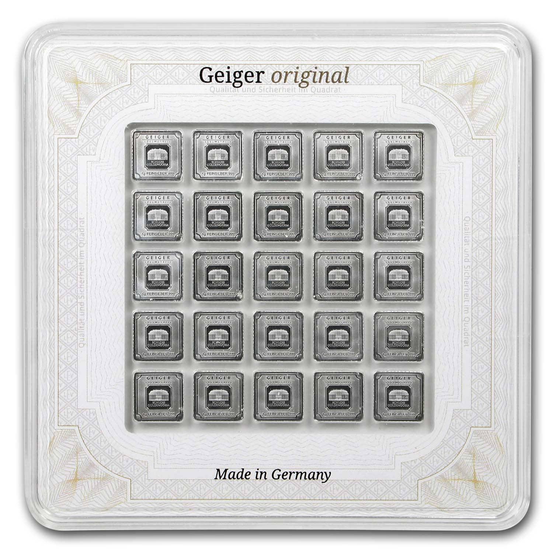 Geiger Edelmetalle 25 X 1 Gram Silver Bar Original Multicard New - Sealed