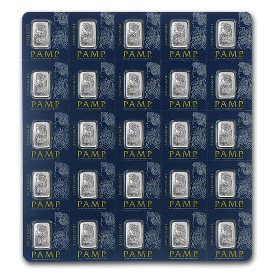 25x1 gram Platinum Bar - PAMP Suisse Multigram+25 (In Assay)