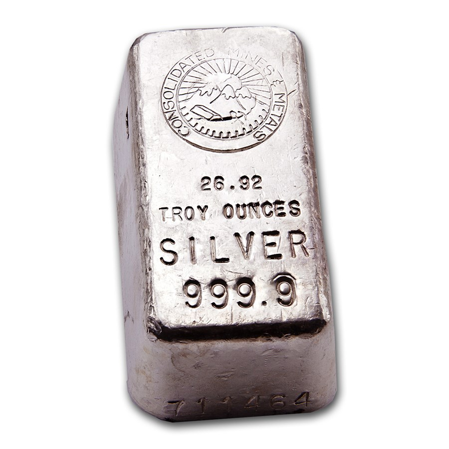 26.92 oz Silver Bar - Consolidated Mines & Metals