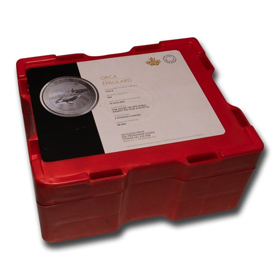 280-Coin 2 oz Silver Canada Orca Whale Monster Box (Empty, Red)