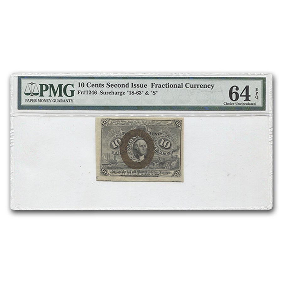 2nd Issue Fractional Currency 10 Cents Ch CU-64 EPQ PMG (FR#1246)