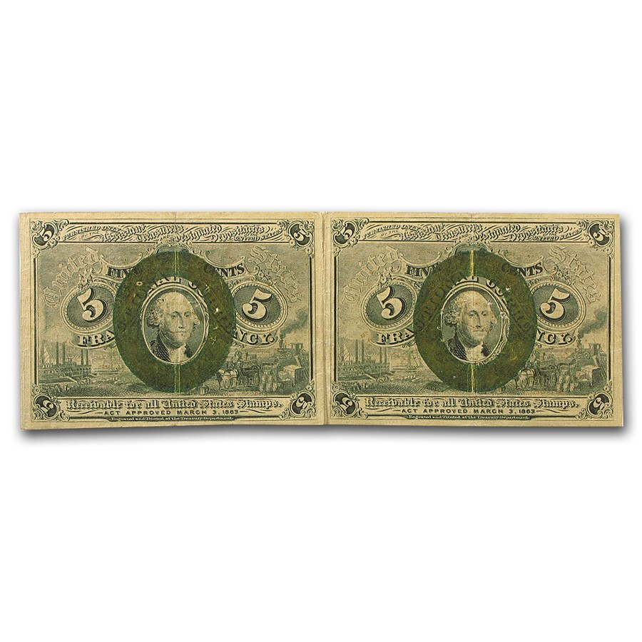 2nd Issue Fractional Currency 5 Cents VF (Uncut Pair, FR#1232)