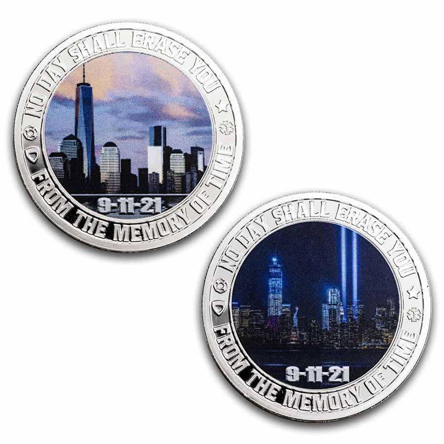 2x 1 oz Silver Colorized Round - 9/11 20th Anniv: Dusk & Dawn