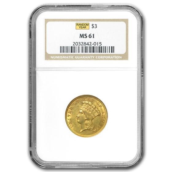 $3 Gold Princess MS-61 NGC/PCGS