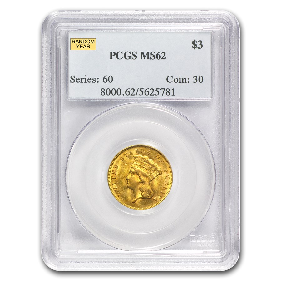 $3 Gold Princess MS-62 NGC/PCGS