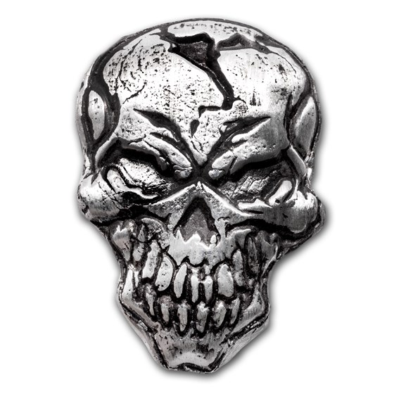 3 oz Hand Poured Silver Bar - Angry Skull