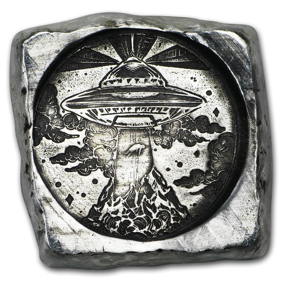 3 oz Hand Poured Silver Nugget - Alien Abduction