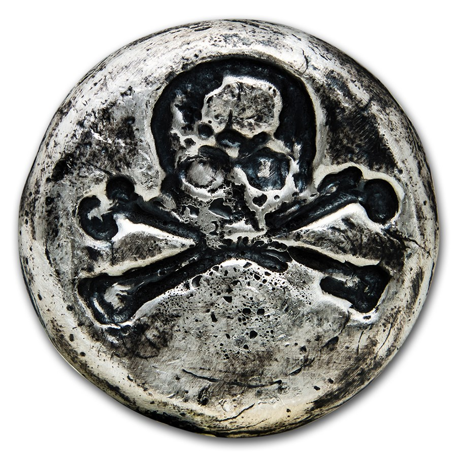 3 oz Hand Poured Silver Round - Skull & Bones
