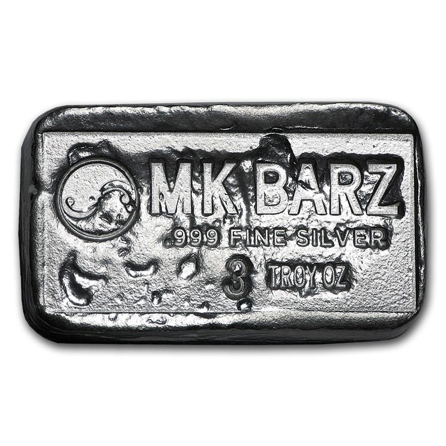 3 oz Silver Bar - MK Barz & Bullion