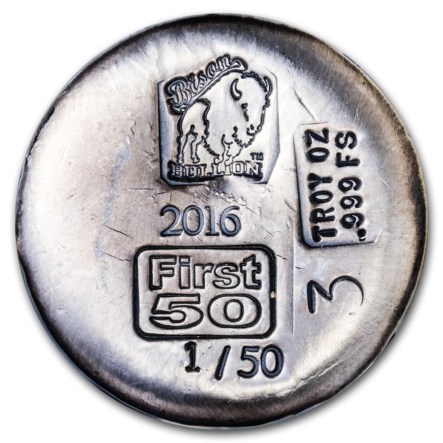 3 oz Silver Round - Bison Bullion (1st 50 Issued, Serial #1)