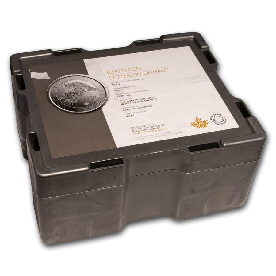 300-Coin 1.5 oz Silver Canada White Falcon Monster Box (Empty)