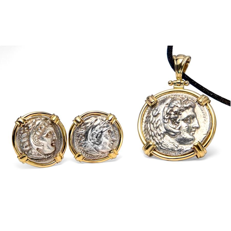 (336-323 BC) Alexander III 14 K Gold Pendant and Earrings Set