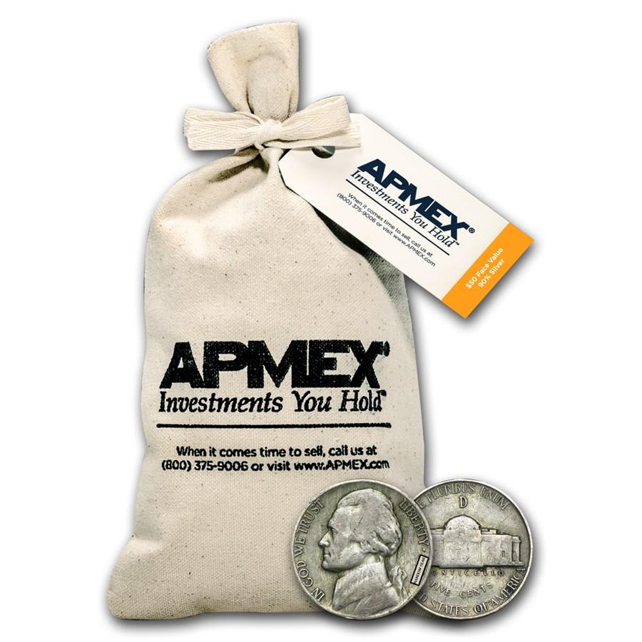 35% Silver War Nickels $50 Face Value Bag