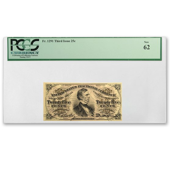 3rd Issue Fractional Currency 25 Cents New 62-PCGS (FR#1291)